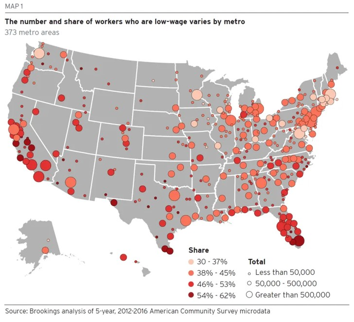 Brookings low wage map
